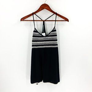 nwt | Maurices Black & White Embroidered Tank Top